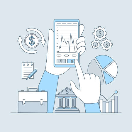 Online investing or banking application vector cartoon outline design. Business investment concept.