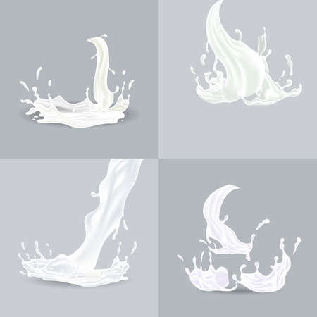 Realistic splashes of white liquid with drops vector illustration isolated on grey background.