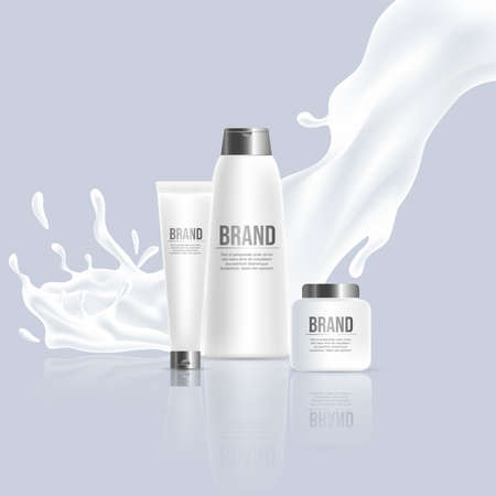 Cosmetic beauty products vector realistic poster design. Cream, shampoo bottles with splash of white cream. Ilustração