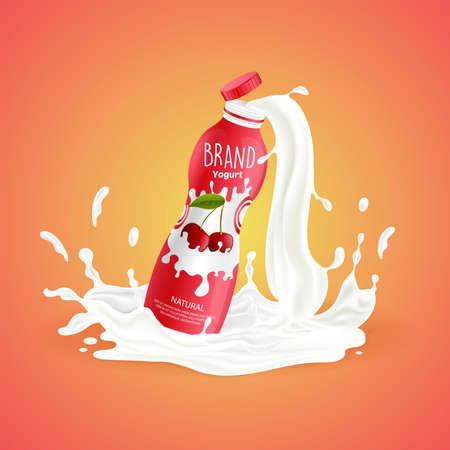 Cherry yogurt bottle with splash of milk vector cartoon illustration isolated on orange background.