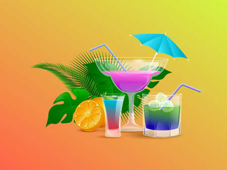 Summer cocktails decorated with half sliced orange and tropical leaves vector cartoon illustration. Alcohol drinks.