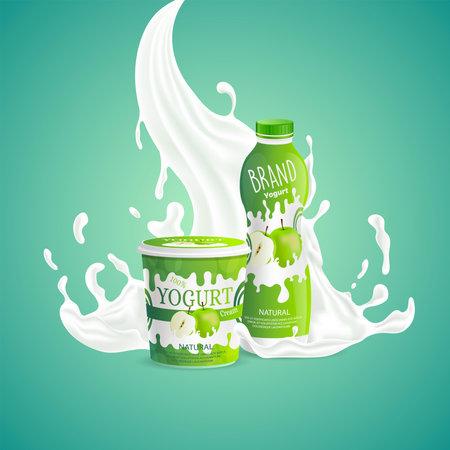 Apple yogurt packaging design with splashing of milk swirl. Tasty natural food vector cartoon illustration.