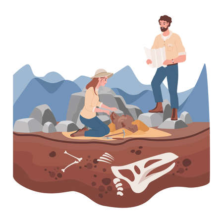 Man and woman scientists in history expedition vector flat illustration. Archeological excavation concept.