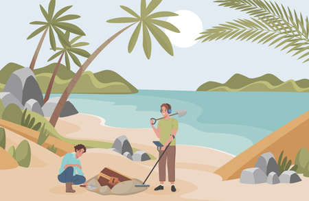 Archeologists finding treasure vector flat illustration. Men with archeological equipment searching for artifacts.