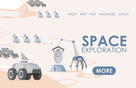 Space exploration landing page template. Solar panels, rovers, and scientific research vehicles vector flat illustration.
