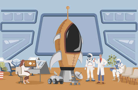 Launch rocket center with cosmonaut vector flat illustration. Engineer and scientist preparing astronaut to space flight.