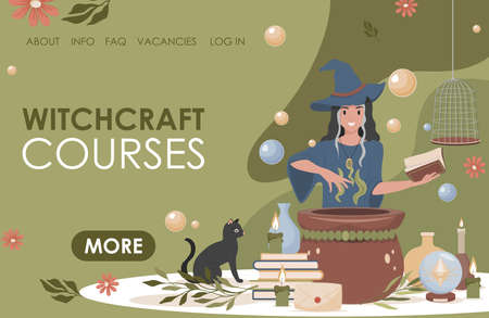 Witchcraft courses vector flat landing page template. Woman in witch hat preparing magic poison using book.