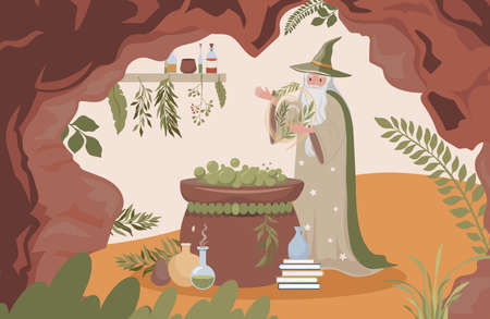 Old wizard preparing magic poison vector flat illustration. Magician man cave with cauldron, poison flasks.