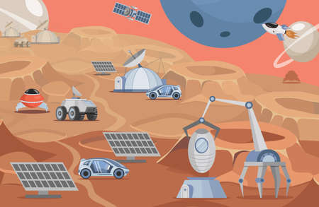 Planet colonization vector flat illustration. Mars rovers, solar panels, rockets and robots on planet surface. Vectores