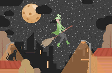 Happy smiling witch in green clothes flying on broomstick vector flat illustration. Halloween scary night background. Vectores