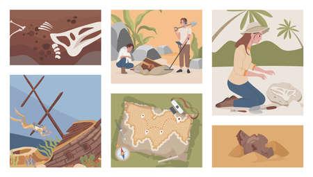 Archeological excavation vector flat illustrations. Men and women digging, using metal detector to excavate treasures. Vectores