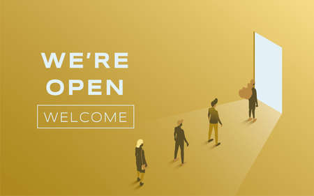 We are open vector flat poster design. People standing in line against open door. Advertising and promotion banner.