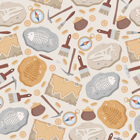 Fossil fish and dinosaurs skeletons, maps, compass, coins, brushes, and archeology tools vector flat seamless pattern. Vectores
