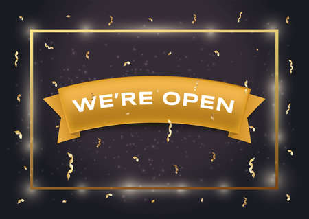 We are open vector flat banner template. White text on golden ribbon, black background with gold confetti. Vectores