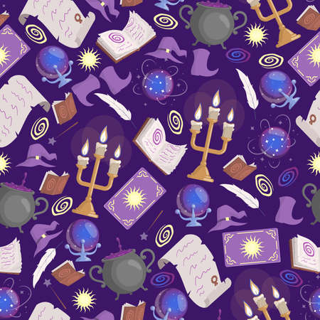 Magic seamless pattern. Preparing poison in cauldron, taro cards, candles, prediction ball, magic books, and witch hats. Vectores