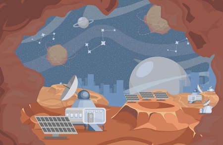 Space exploration vector flat illustration. Rover on planet surface, scientific research with robotic vehicles. Vectores
