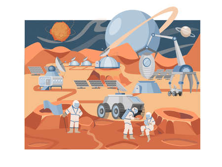 Mars colonization mission vector flat illustration. Group of astronauts and scientists exploring planet surface.