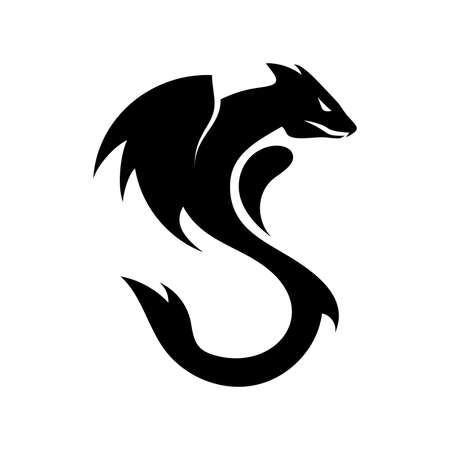 Black dragon logotype vector design isolated on white background. Dragon silhouette for company logo.