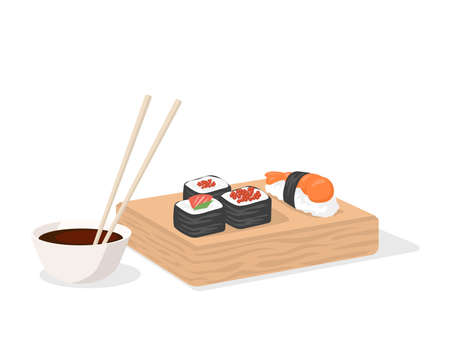 Sushi and soy sauce with chopsticks on wooden plate vector flat illustration isolated on white.