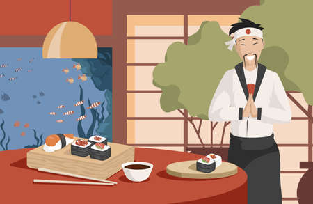 Healthy and tasty Japanese food vector flat illustration. Japan chef making sushi in restaurant. Vectores