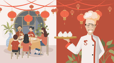 People eating in Chinese restaurant vector flat illustration. Chef holding plate with steamed buns or dim sums.