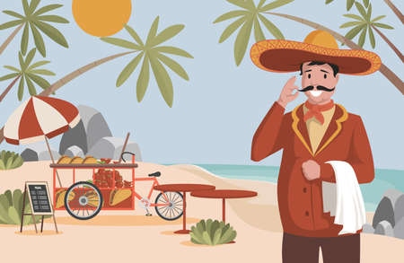 Mexican food vector flat illustration. Happy man in big Mexican hat sombrero standing near street food truck. Vectores