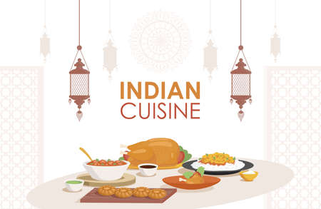 Indian cuisine vector flat poster design. Fresh and tasty Indian dishes, chicken stew, stuffed chicken, curry with rice.