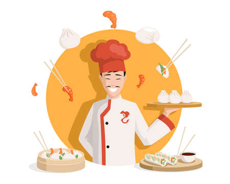 Chef in Chinese kimono vector flat illustration. Tasty delicious Chinese cuisine, dim sums, shrimps, spring rolls.