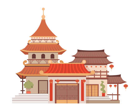 Traditional Chinese architecture vector flat illustration isolated on white. Beautiful and colorful Asian building. Vectores
