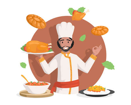 Chef in Indian clothes vector flat illustration. Tasty delicious Indian cuisine, chicken stew, stuffed chicken, curry with rice. Vectores