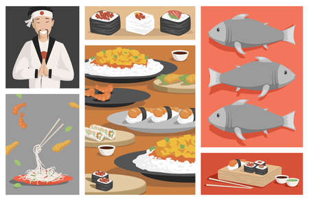 Tasty traditional Japanese food vector flat illustration. Fresh sushi and rolls with shrimps, salmon, caviar and rice.