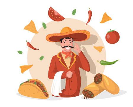 Smiling chef in big Mexican hat sombrero vector flat illustration. Tasty Mexican cuisine, tacos, burritos, nachos. Vectores