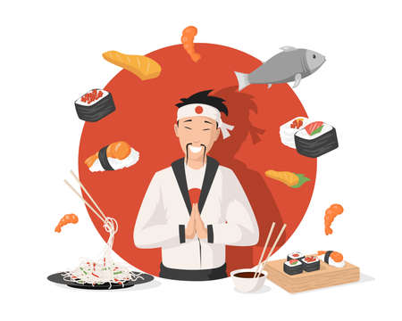 Chef in traditional Japanese kimono vector flat illustration. Japanese cuisine, sushi, rolls, shrimps, and noodles.