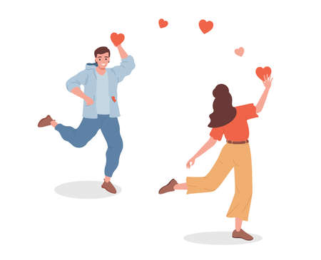 Young smiling man and woman giving heart signs to each other vector flat illustration isolated on white background.
