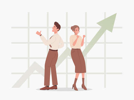 Man and woman standing on the background of rising graph vector flat illustration. People happy about success.