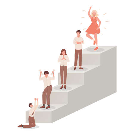 Ladder with people feeling different emotions vector flat illustration. Various people mood concept. 矢量图像