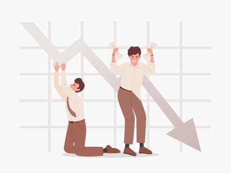Sad men on the background of falling graph vector flat illustration. Bankruptcy, business problems.