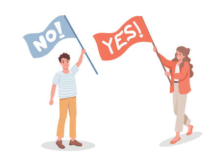 Man with No flag and woman with Yes flag vector flat illustration. Protesting man and supporting woman.