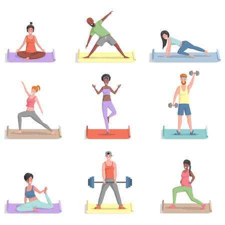 Set of people training vector flat illustration. Men and women in sports clothes doing exercises. 矢量图像
