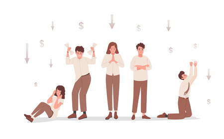 Group of sad and disappointed people upset about financial and business failure vector flat illustration.