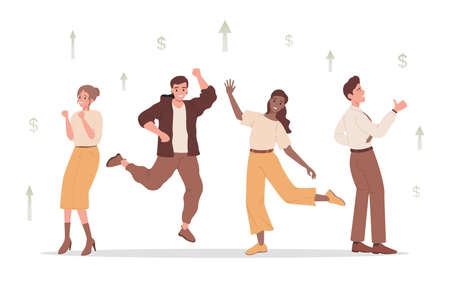 Group of happy smiling people dancing and joy about financial and business success vector flat illustration. 矢量图像