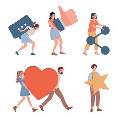 Happy smiling men and women bringing hearts, stars, likes, and sharing signs vector flat illustration.