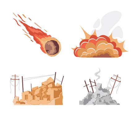 Set of natural disaster vector flat illustrations isolated on white background. World in collapse concept.