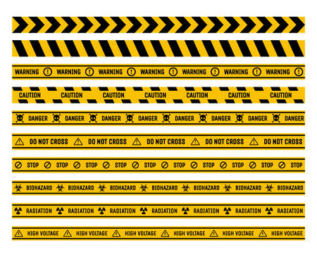 Set of prohibition and warning tapes vector flat illustration. Danger, stop, and caution ribbons.