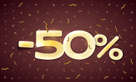 Minus 50 percent sale vector flat banner concept on dark background with golden ribbons.