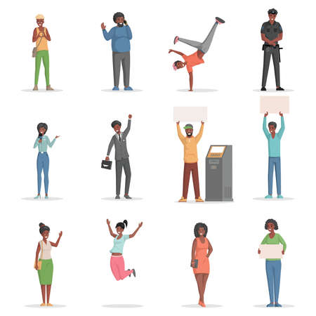 Set of different people jumping, holding placards, talking phone vector flat illustration.