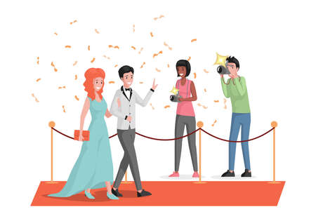 Happy smiling celebrities couple walking on red carpet and waving hands vector flat illustration.