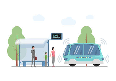 Future public express transport in city vector flat illustration. People at bus station waiting for modern self driving bus.