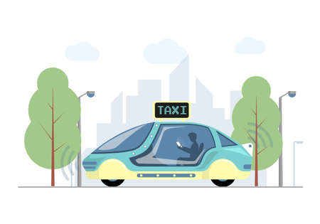 Future express taxi in city vector flat illustration. Futuristic high speed automobile on background of modern town.