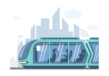 Future public express transport in city vector flat illustration. Futuristic high speed train on background of modern town. 矢量图像